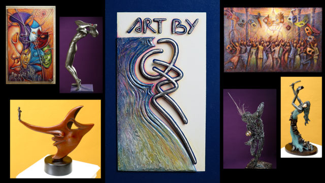 Collage of several works from the collection