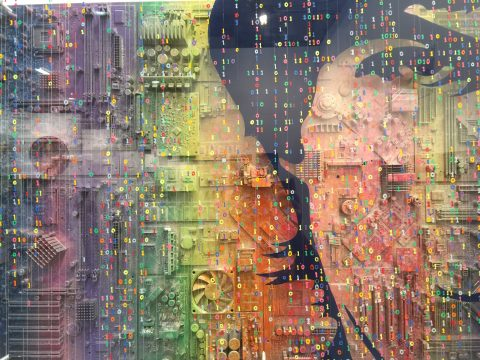 """Photo of Ozz's work, Genius H:24""""x W:36"""" computer components & mixed media"""